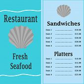 stock photo of scallop shell  - Menu Vector  - JPG
