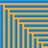 pic of upstairs  - blue and yellow stripes form a staircase going upstairs - JPG