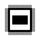 stock photo of microchips  - Microchip icon on white background - JPG