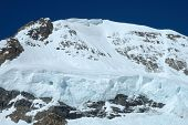 pic of firn  - Snow and ice on Monch mountainside nearby Jungfraujoch in Alps in Switzerland - JPG