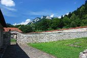 stock photo of pieniny  - View from the Red Monastery in Slovakia towards the top of the Three Crowns in Poland  - JPG