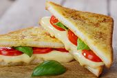 foto of tomato sandwich  - fried toast sandwich with mozzarella and cherry tomatoes - JPG