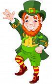 stock photo of leprechaun  - Full length drawing of a leprechaun dancing a jig - JPG