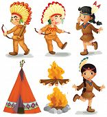 picture of teepee tent  - Illustration of american indians in different poses - JPG
