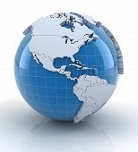 Постер, плакат: Globe with extruded continents north and south america regions