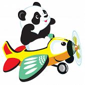 picture of panda  - cartoon panda bear flying with plane  - JPG