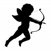 stock photo of shoot out  - black vector silhouette of a cupid shooting arrow - JPG