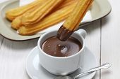 stock photo of churros  - churros and hot chocolate - JPG