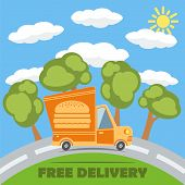 stock photo of bap  - Free delivery van truck with hamburger vinyl logo on the road with trees clouds and sun - JPG