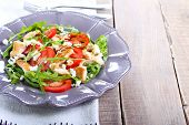 pic of rocket salad  - Chicken rocket feta and tomato salad on plate - JPG