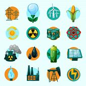 image of solar battery  - Energy icons set with lightbulb petrol gasoline solar battery isolated vector illustration - JPG