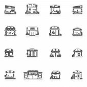 stock photo of grocery store  - Store buildings market small restaurants black icons set isolated vector illustration - JPG