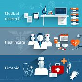 stock photo of medical  - Medical flat banners set with research healthcare first aid symbols isolated vector illustration - JPG