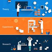 stock photo of experiments  - Science horizontal banners set with theory experiment research isolated vector illustration - JPG
