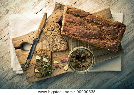 Vintage Photo Of Sandwich With Lentils Pate