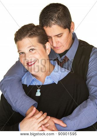 Contented Woman Held By Girlfriend