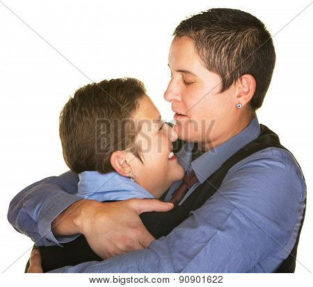 Happy Same Sex Couple Hugging