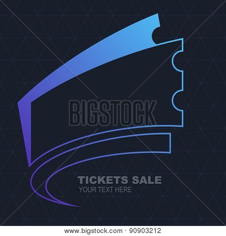 Abstract Line Purple Ticket Illustration On Seamless Triangle Black Pattern. Vector Modern Backgroun