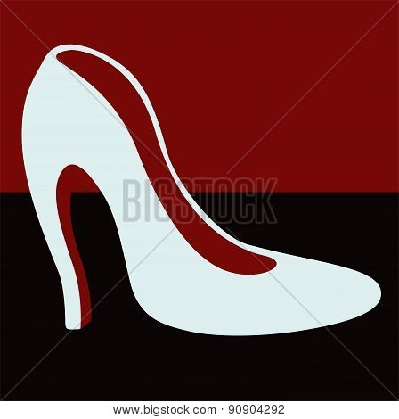 Female white shoes with heels . From a series of women's shoes.