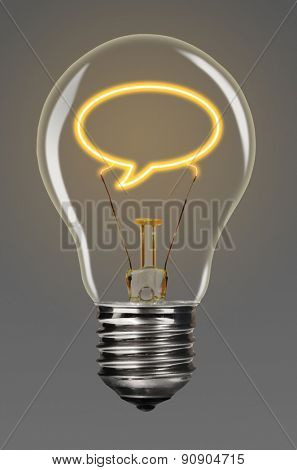 bulb with glowing bubble inside of it, creativity concept