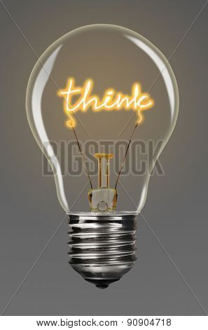 bulb with glowing think word inside of it, creativity concept