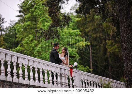 Wedding Couple Near  White Stone Railings