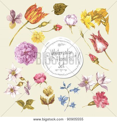 Set of Watercolor Floral Design Elements.Peonies, Roses, Narcissus, Tulip, Wildflowers
