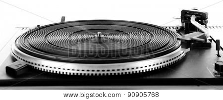 Vintage turntable vinyl record player isolated on white