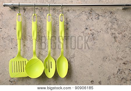 Ladle, spoon and kitchen utensils.