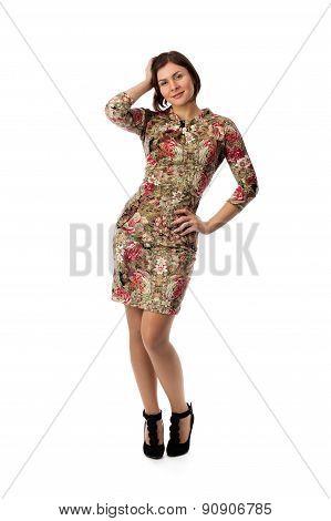 Beautiful Slim Girl In A Flower Dress Full-length.