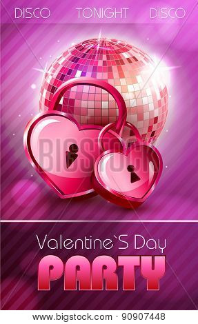 Valentine Disco Poster With Hearts