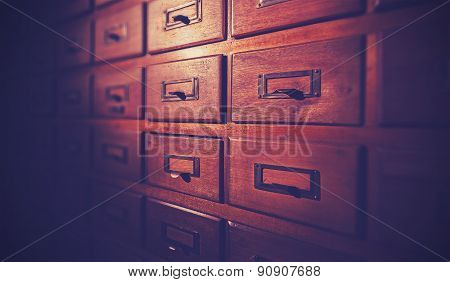 Vintage Filtered Wooden Card Catalog.