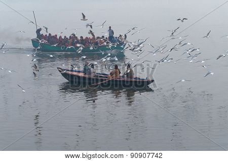 Indian Tourists Are Surrounded By Seagulls On Boat On The River Ganges Foggy Morning. Varanasi