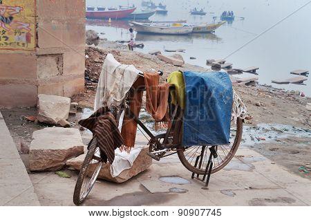 Laundry Drying On Bicycle Near Ganga River In Harishchandra Ghat. Varanasi