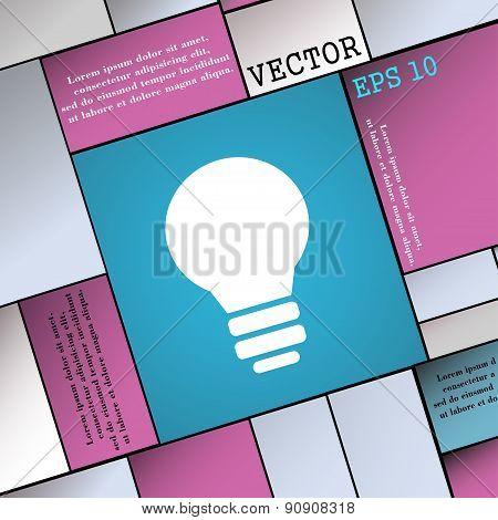 Light Lamp, Idea  Icon Sign. Modern Flat Style For Your Design. Vector