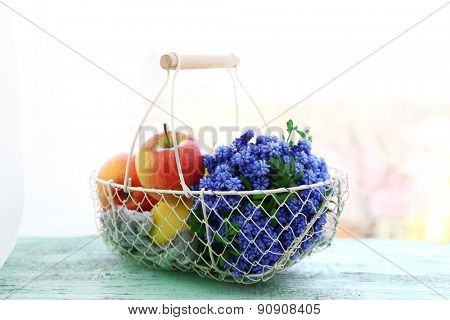 Beautiful bouquet of muscari - hyacinth with fruits in metal basket on windowsill