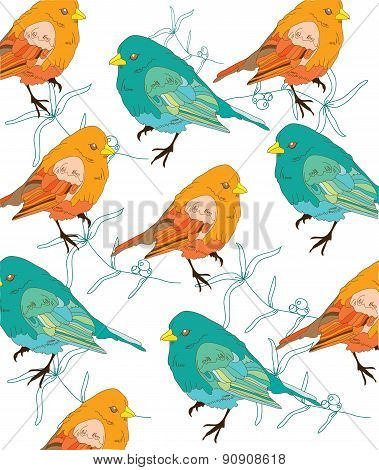 colorful background with orange and turquoise birds