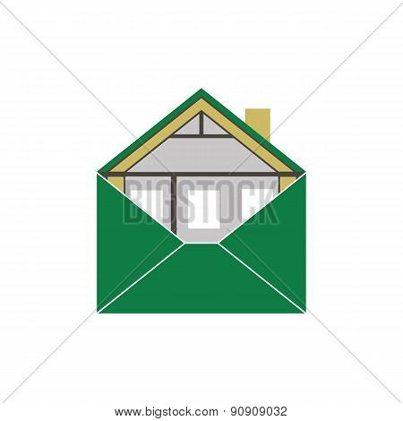 House Eco Green Building Envelope Energy Efficiency symbolic figurative image logo