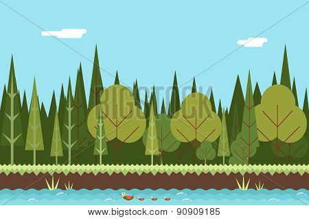 Seamless Wood River Nature Concept Flat Design Landscape Background Template Vector Illustration
