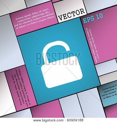 Open Padlock  Icon Sign. Modern Flat Style For Your Design. Vector
