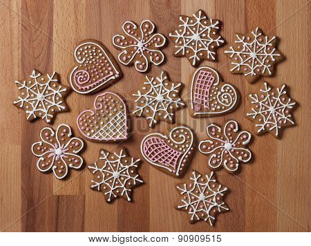 Decorated Christmas Gingerbread Cookies
