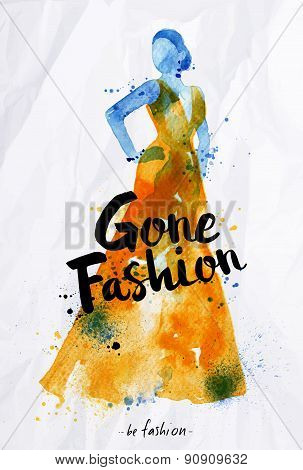 Watercolor poster lettering gone fashion