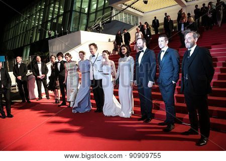 Ben Wishaw, A. Papulia L. Seydoux, J. C. Reilly, J. Barden, R.Weisz,Yorgos Lanthimos Colin Farell at the Premiere of 'The Lobster' , 68th annual Cannes Film Festival on May 15, 2015 in Cannes, France.