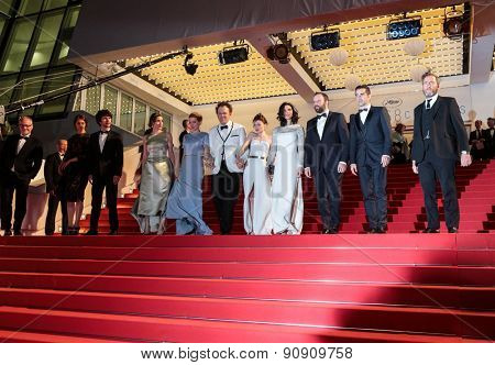 B. Wishaw, A. Papulia Lea Seydoux, J. C. Reilly, J. Barden, R. Weisz,Y. Lanthimos Colin Farell at the Premiere of 'The Lobster' , 68th annual Cannes Film Festival on May 15, 2015 in Cannes, France.