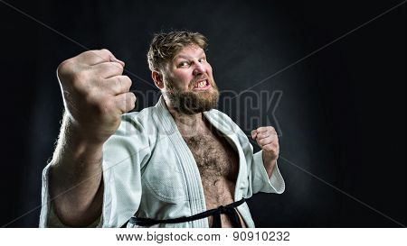 Aggressive karate fighter