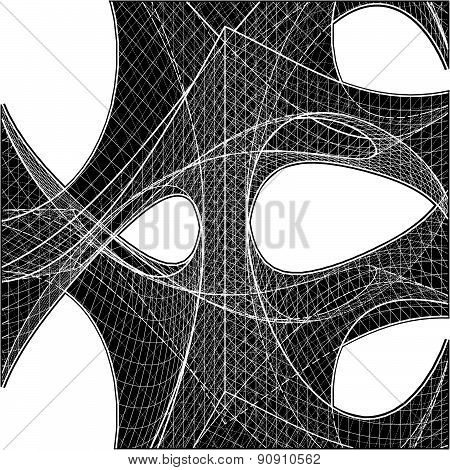 3D Geometric Organic Wireframe Shape Vector