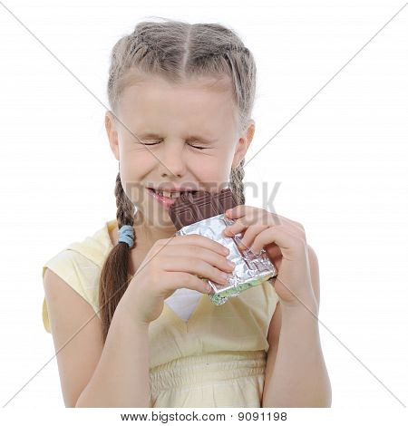 Girl Eating Chocolate.