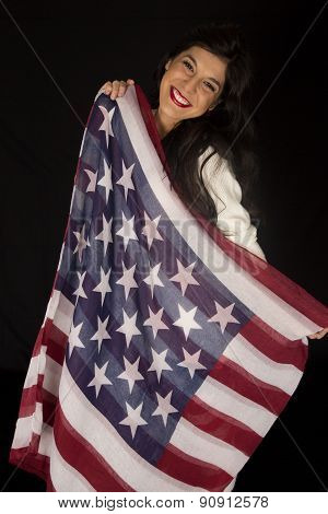 Dark Complected Pretty Woman Holding American Flag Scarf