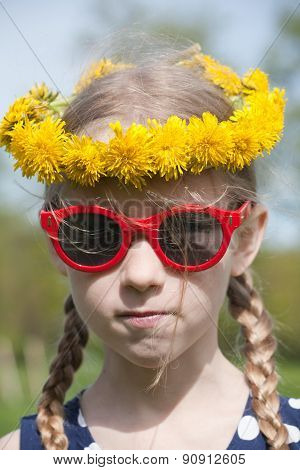Funny Girl Portrait In Dandelion Garland