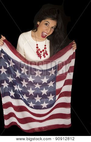 Excited Patriotic Woman Holding American Flag Scarf Mouth Open